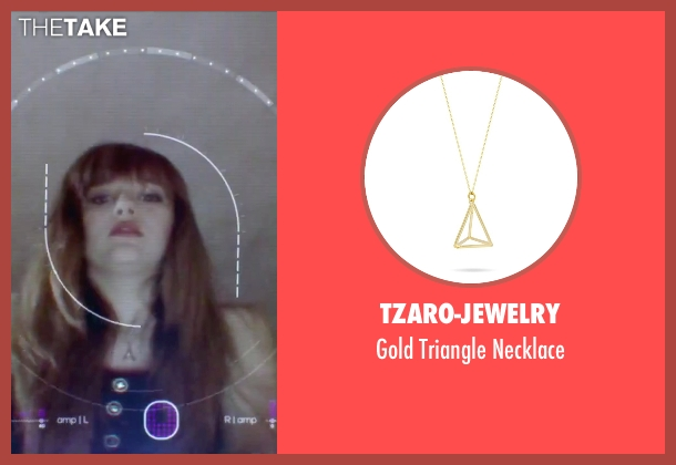 Tzaro-Jewelry gold necklace from Jem and the Holograms seen with Aubrey Peeples (Jem)
