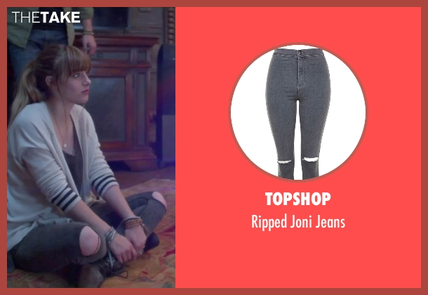 Topshop gray jeans from Jem and the Holograms seen with Aubrey Peeples (Jem)