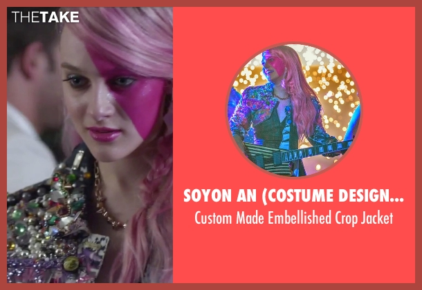 Soyon An (Costume Designer) pink jacket from Jem and the Holograms seen with Aubrey Peeples (Jem)
