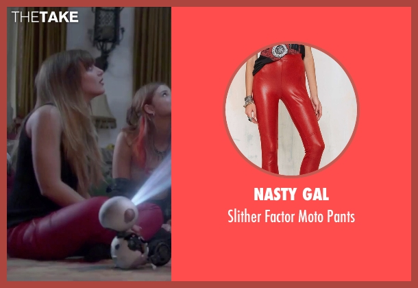 Nasty Gal red pants from Jem and the Holograms seen with Aubrey Peeples (Jem)