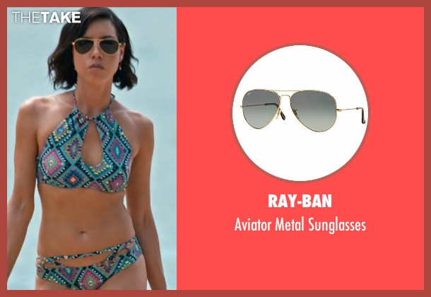 Ray-Ban gold sunglasses from Mike and Dave Need Wedding Dates seen with Aubrey Plaza (Tatiana)