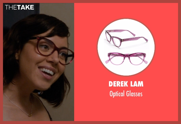 Derek Lam red glasses from Mike and Dave Need Wedding Dates seen with Aubrey Plaza (Tatiana)