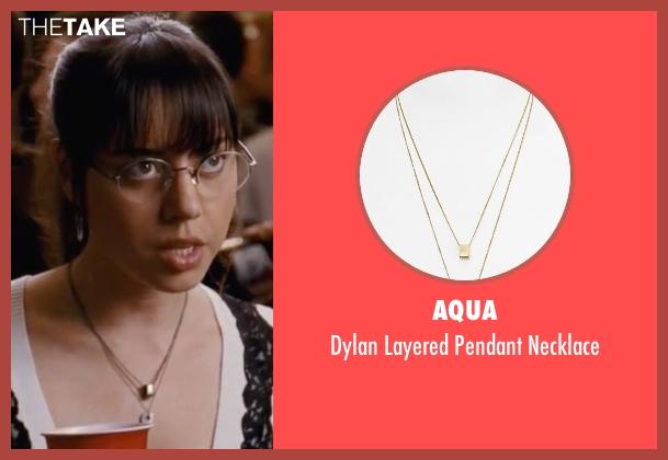 Aqua gold necklace from Scott Pilgrim Vs. The World seen with Aubrey Plaza (Julie Powers)
