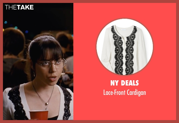 NY Deals white cardigan from Scott Pilgrim Vs. The World seen with Aubrey Plaza (Julie Powers)