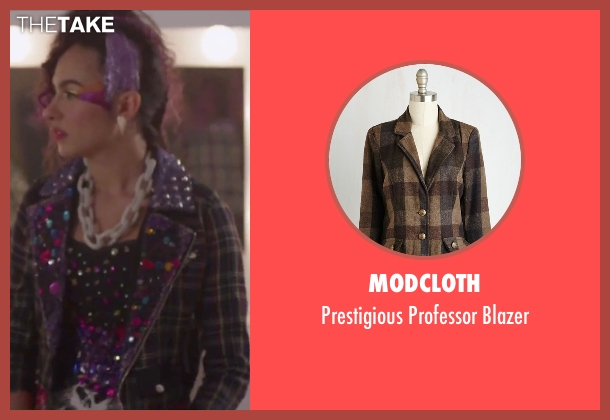 Modcloth brown blazer from Jem and the Holograms seen with Aurora Perrineau (Shana Elmsford)