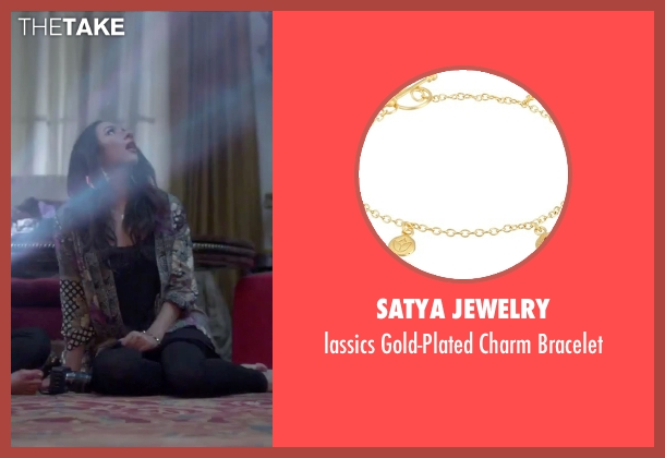 Satya Jewelry gold bracelet from Jem and the Holograms seen with Aurora Perrineau (Shana Elmsford)