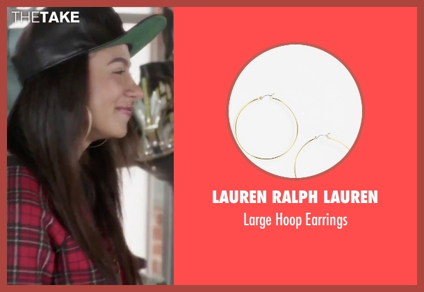 Lauren Ralph Lauren gold earrings from Jem and the Holograms seen with Aurora Perrineau (Shana Elmsford)