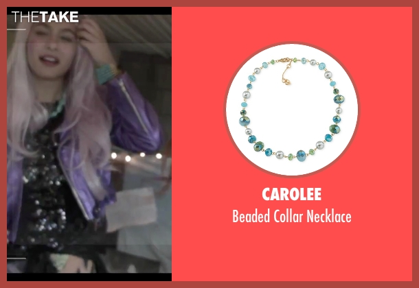 Carolee green necklace from Jem and the Holograms seen with Aurora Perrineau (Shana Elmsford)