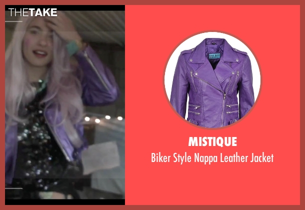 Mistique purple jacket from Jem and the Holograms seen with Aurora Perrineau (Shana Elmsford)
