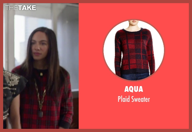 AQUA red sweater from Jem and the Holograms seen with Aurora Perrineau (Shana Elmsford)