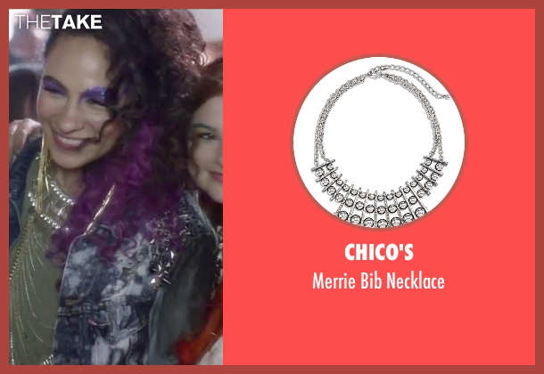 Chico's silver necklace from Jem and the Holograms seen with Aurora Perrineau (Shana Elmsford)
