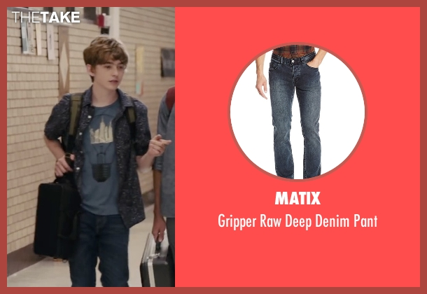 Matix blue pant from Paper Towns seen with Austin Abrams (Ben Starling)