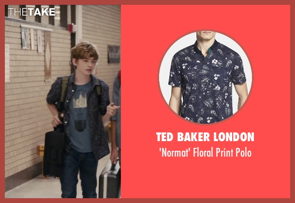Ted Baker London blue polo from Paper Towns seen with Austin Abrams (Ben Starling)
