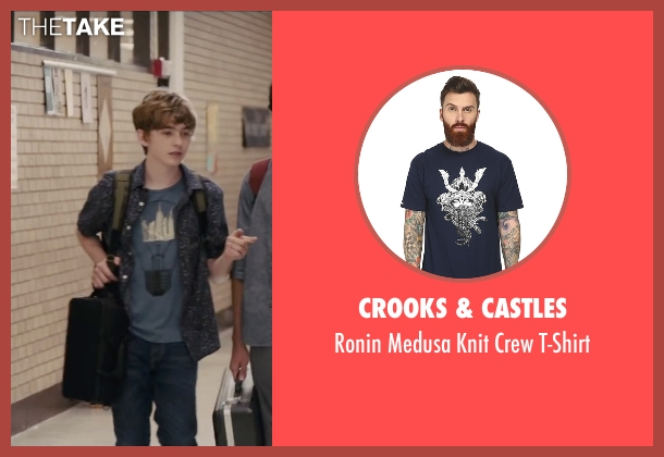 Crooks & Castles blue t-shirt from Paper Towns seen with Austin Abrams (Ben Starling)