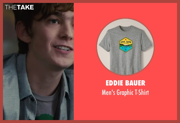 Eddie Bauer gray t-shirt from Paper Towns seen with Austin Abrams (Ben Starling)
