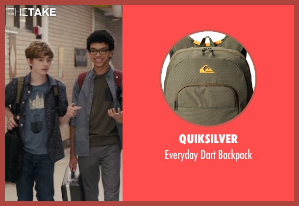 Quiksilver green backpack from Paper Towns seen with Austin Abrams (Ben Starling)