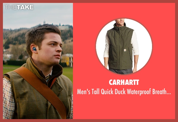 Carhartt green vest from Mortdecai seen with Austin Lyon (Hotel Clerk)