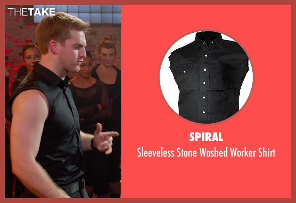 Spiral black shirt from Pitch Perfect 2 seen with Austin Lyon (Frank)