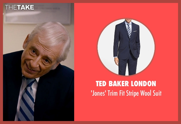 Ted Baker London blue suit from She's Funny That Way seen with Austin Pendleton (Judge Pendergast)
