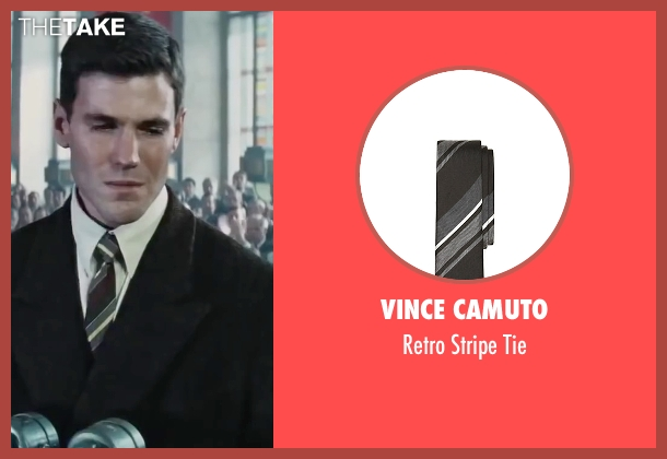 Vince Camuto black tie from Bridge of Spies seen with Austin Stowell (Francis Gary Powers)