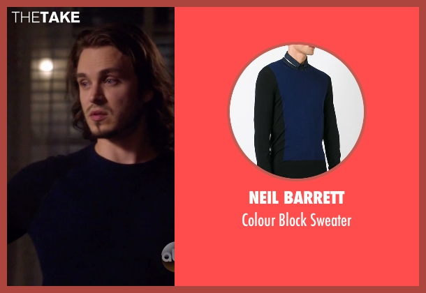 Neil Barrett blue sweater from Nashville seen with Avery Barkley  (Jonathan Jackson)
