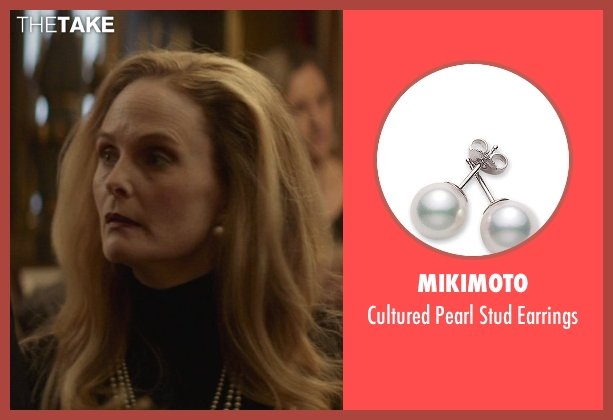 Mikimoto white earrings from That Awkward Moment seen with Barbara Garrick (Chelsea's Mother)