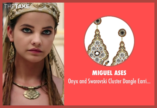 Miguel Ases gold earrings from Hercules seen with Barbara Palvin (Antimache)