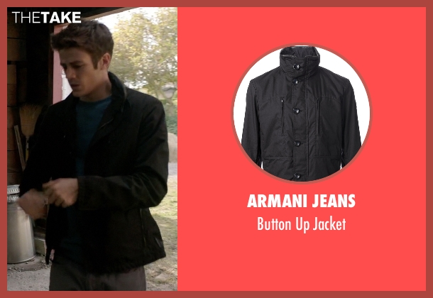 Armani Jeans black jacket from Arrow seen with Barry Allen / The Flash / Bartholomew Allen (Grant Gustin)