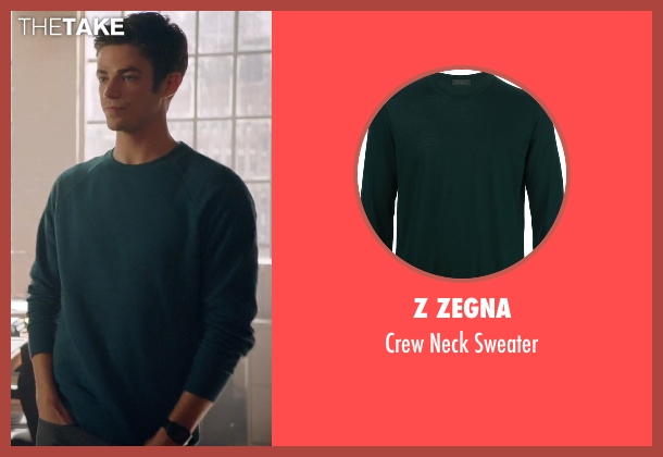 Z Zegna green sweater from Arrow seen with Barry Allen / The Flash / Bartholomew Allen (Grant Gustin)