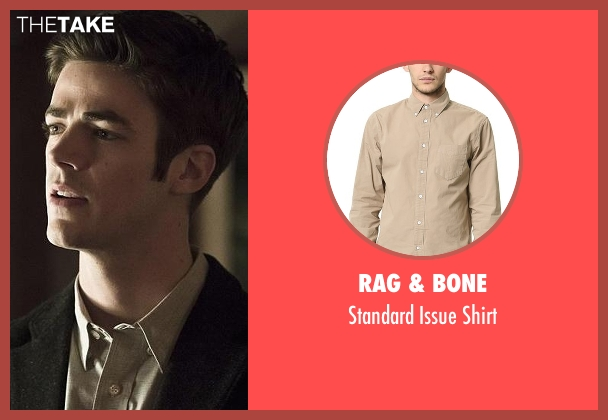 Rag & Bone beige shirt from The Flash seen with Barry Allen / The Flash / Bartholomew Allen (Grant Gustin)