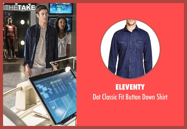 Eleventy blue shirt from The Flash seen with Barry Allen / The Flash / Bartholomew Allen (Grant Gustin)