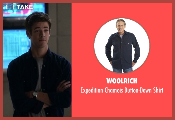 Woolrich blue shirt from The Flash seen with Barry Allen / The Flash / Bartholomew Allen (Grant Gustin)