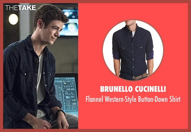 Brunello Cucinelli blue shirt from The Flash seen with Barry Allen / The Flash / Bartholomew Allen (Grant Gustin)