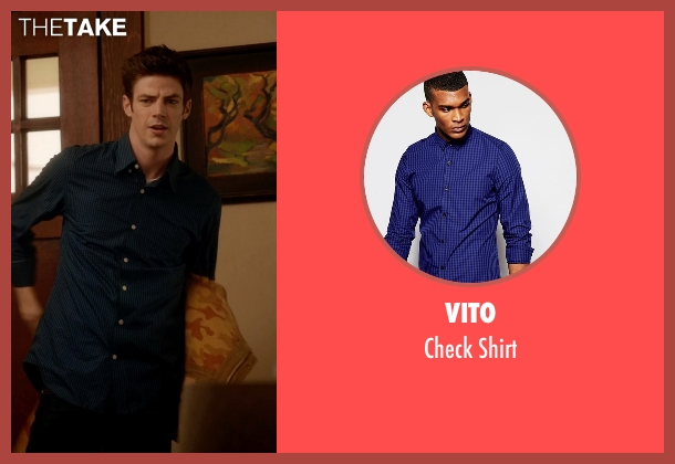 Vito blue shirt from The Flash seen with Barry Allen / The Flash / Bartholomew Allen (Grant Gustin)