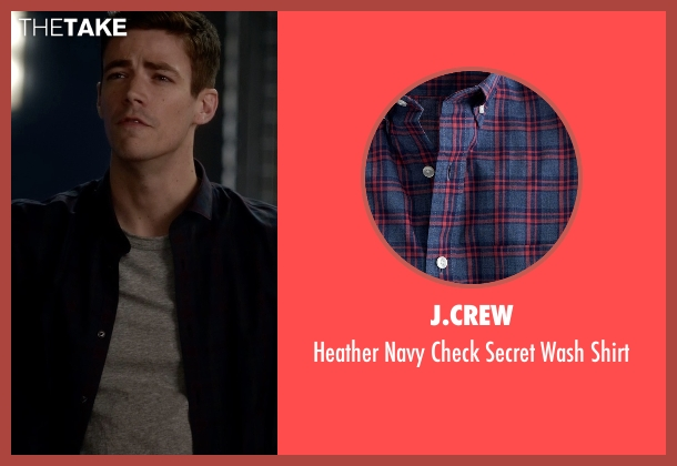 J.Crew blue shirt from The Flash seen with Barry Allen / The Flash / Bartholomew Allen (Grant Gustin)