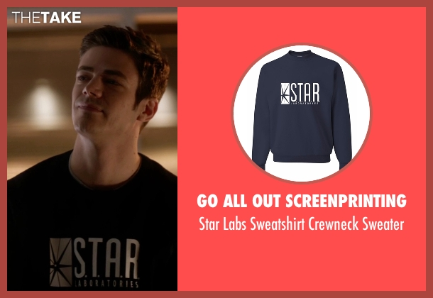 Go All Out Screenprinting blue sweater from The Flash seen with Barry Allen / The Flash / Bartholomew Allen (Grant Gustin)