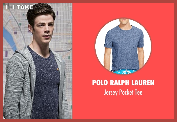Polo Ralph Lauren blue tee from The Flash seen with Barry Allen / The Flash / Bartholomew Allen (Grant Gustin)