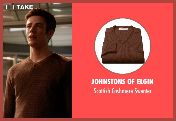 Johnstons Of Elgin brown sweater from The Flash seen with Barry Allen / The Flash / Bartholomew Allen (Grant Gustin)