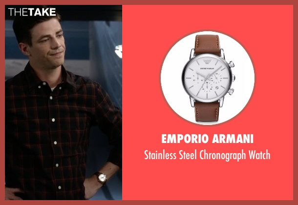 Emporio Armani brown watch from The Flash seen with Barry Allen / The Flash / Bartholomew Allen (Grant Gustin)