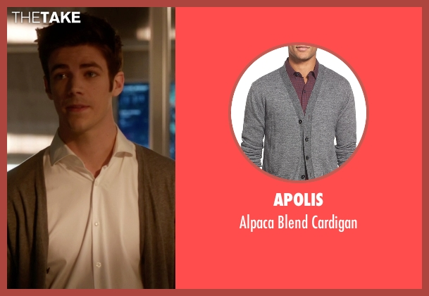 Apolis gray cardigan from The Flash seen with Barry Allen / The Flash / Bartholomew Allen (Grant Gustin)