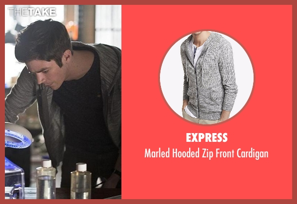 Express gray cardigan from The Flash seen with Barry Allen / The Flash / Bartholomew Allen (Grant Gustin)