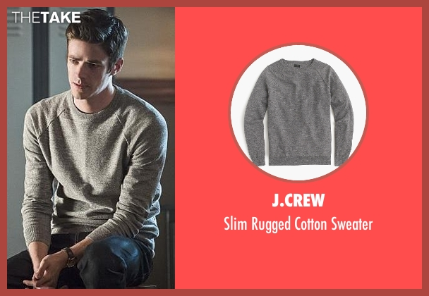 J.Crew gray sweater from The Flash seen with Barry Allen / The Flash / Bartholomew Allen (Grant Gustin)