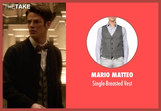Mario Matteo gray vest from The Flash seen with Barry Allen / The Flash / Bartholomew Allen (Grant Gustin)