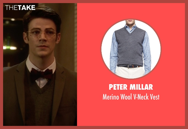 Peter Millar gray vest from The Flash seen with Barry Allen / The Flash / Bartholomew Allen (Grant Gustin)