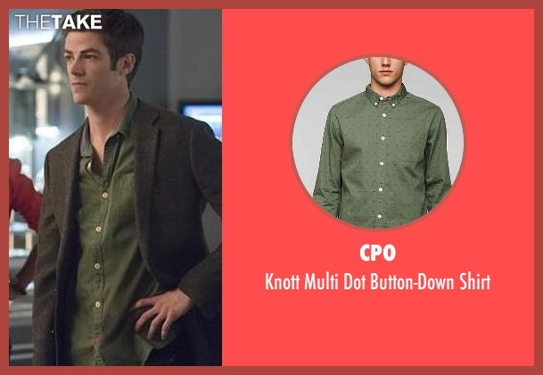 CPO green button-down shirt from The Flash seen with Barry Allen / The Flash / Bartholomew Allen (Grant Gustin)