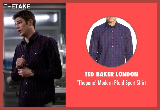 Ted Baker London purple shirt from The Flash seen with Barry Allen / The Flash / Bartholomew Allen (Grant Gustin)