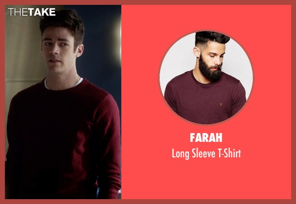 Farah red t-shirt from The Flash seen with Barry Allen / The Flash / Bartholomew Allen (Grant Gustin)