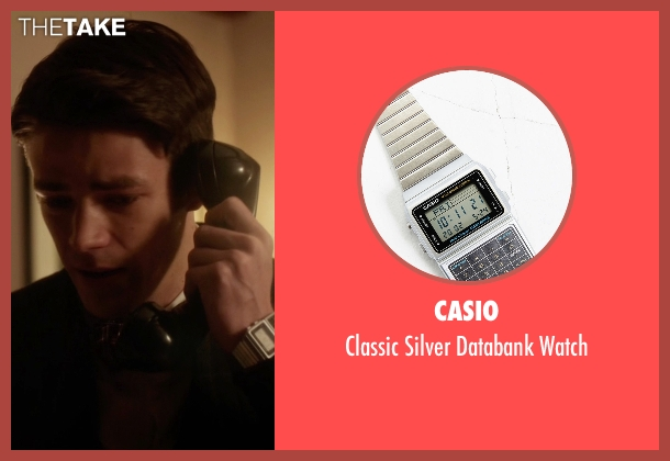 Casio silver databank watch from The Flash seen with Barry Allen / The Flash / Bartholomew Allen (Grant Gustin)