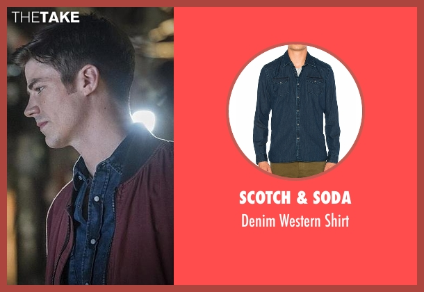 Scotch & Soda blue shirt from The Flash seen with Barry Allen / The Flash (Grant Gustin)