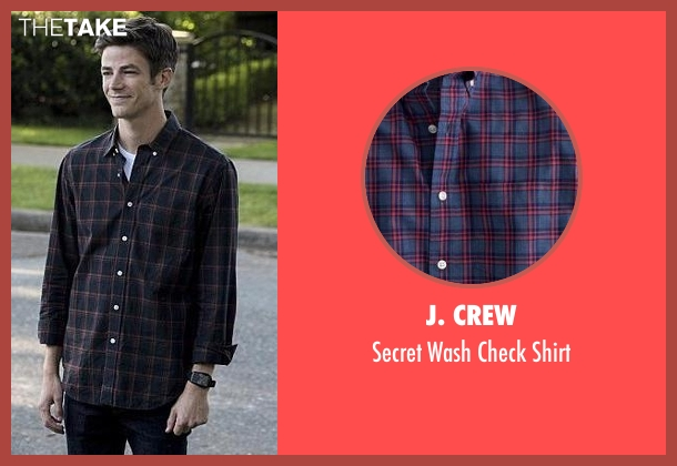 J. Crew blue shirt from The Flash seen with Barry Allen / The Flash (Grant Gustin)